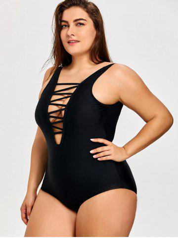 9f3366338a816 Plus Size Lattice Front One Piece Swimsuit