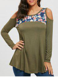 Floral Print Panel Long Sleeve Cold Shoulder T-shirt -