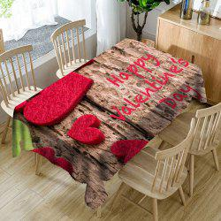 Valentine's Day Letter Print Love Hearts Waterproof Table Cloth -