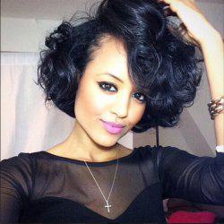 Deep Side Parting Medium Shaggy Curly Synthetic Wig -