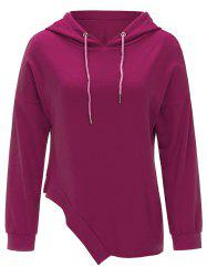 Drawstring Asymmetrical Pullover Hoodie -