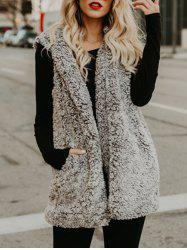 Faux Fur Collarless Vest -