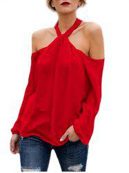 Halter Open Shoulder Tunic Blouse -