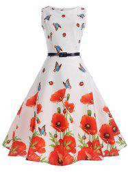 Sleeveless Butterfly and Floral Print A Line Dress -