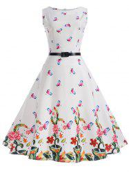Sleeveless Butterfly Print A Line Dress with Belt -