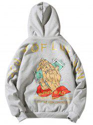 Fleece Cartoon Graphic Print Zip Up Hoodie -