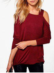 Skew Neck Plain T-shirt -