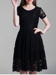 Short Sleeve A Line Lace Dress -