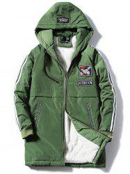 Embroidered Applique Zip Up Fleece Padded Coat -