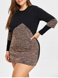 Two Tone Plus Size Tunic Jersey Dress -