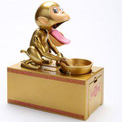 Stealing Coin Golden Monkey Design Money Box - Golden