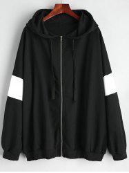 Plus Size Monochrome Zip Up Hoodie -