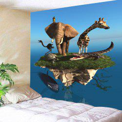 Wall Hanging Floating Island Animal Print Tapestry -