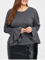 Plus Size Flare Sleeve Blouse -