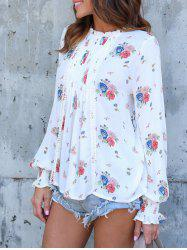 Long Sleeve Floral Print Chiffon Blouse -