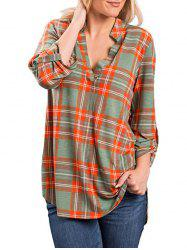 Checked V Neck Blouse -