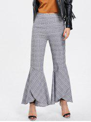 Zipper Plaid Flare Bottom Pants -