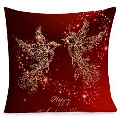 Valentine's Day Abstract Love Heart Birds Printed Pillow Case -