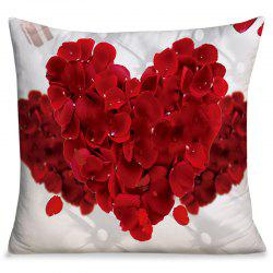 Valentine's Day Petals Heart Square Throw Pillow Case -