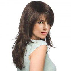 Long Inclined Bang Layered Slightly Curly Synthetic Fiber Wig -