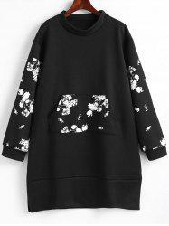 Plus Size Front Pocket Floral Sweatshirt Dress -