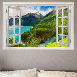 Mountain and River Scenery Printed Window View Removable Wall Sticker -