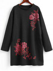 Plus Size Fleece Lined Floral Sweatshirt Dress -