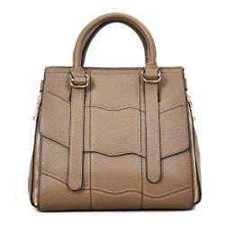 PU Leather Stitching Geometric Scallop Handbag -