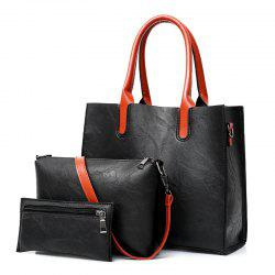 Faux Leather Tote Handbags Set 3 Pieces -