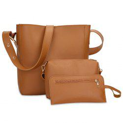 Faux Leather 3 Pieces Shoulder Bag Set -