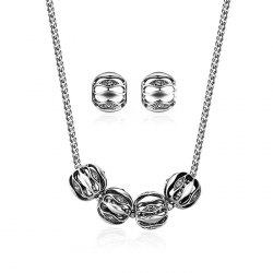 Simple Alloy Necklace with Earring Set -