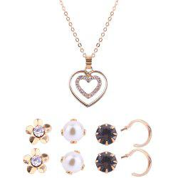 Heart Shape Necklace and Stud Earrings Set -