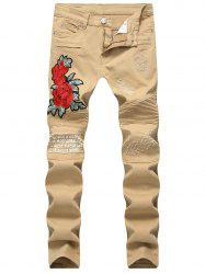Floral Embroidery Distressed Biker Jeans -