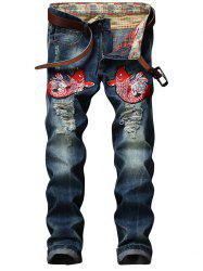Fish Embroidery Straight Leg Distressed Jeans -