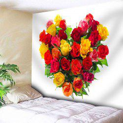 Wall Hanging Valentine's Day Roses Heart Pattern Tapestry -