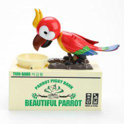 Automatic Stole Coin Parrot Shape Money Box - Red
