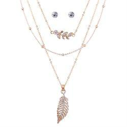 Rhinestone Leaf Necklace and Earring Set -