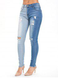 Color Block High Waisted Ripped Jeans -