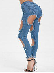 Hole Distressed High Waisted Jeans -