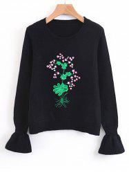 Floral Embroidered Flouncy Sleeve Sweater -