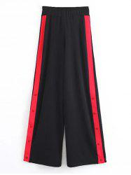 Contrasting Snap Button Wide Leg Pants -
