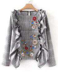 Floral Embroidered Ruffles Plaid Blouse -