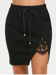 Lace Panel Split High Waist Short Skirt -