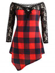Plus Size Lace Panel Tartan Asymmetrical T-shirt -