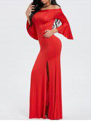 Off Shoulder High Slit Maxi Evening Dress -