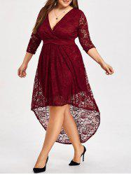 Plus Size High Low Lace Vintage Dress -