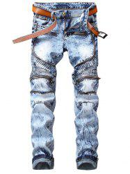 Straight Leg Zipper Embellished Biker Jeans -