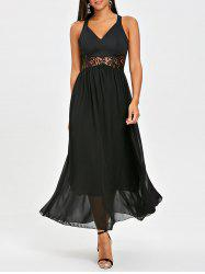 Chiffon Racerback Lace Insert Long Dress -