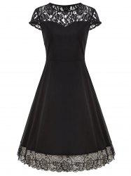 Vintage Lace Trim A Line Dress -