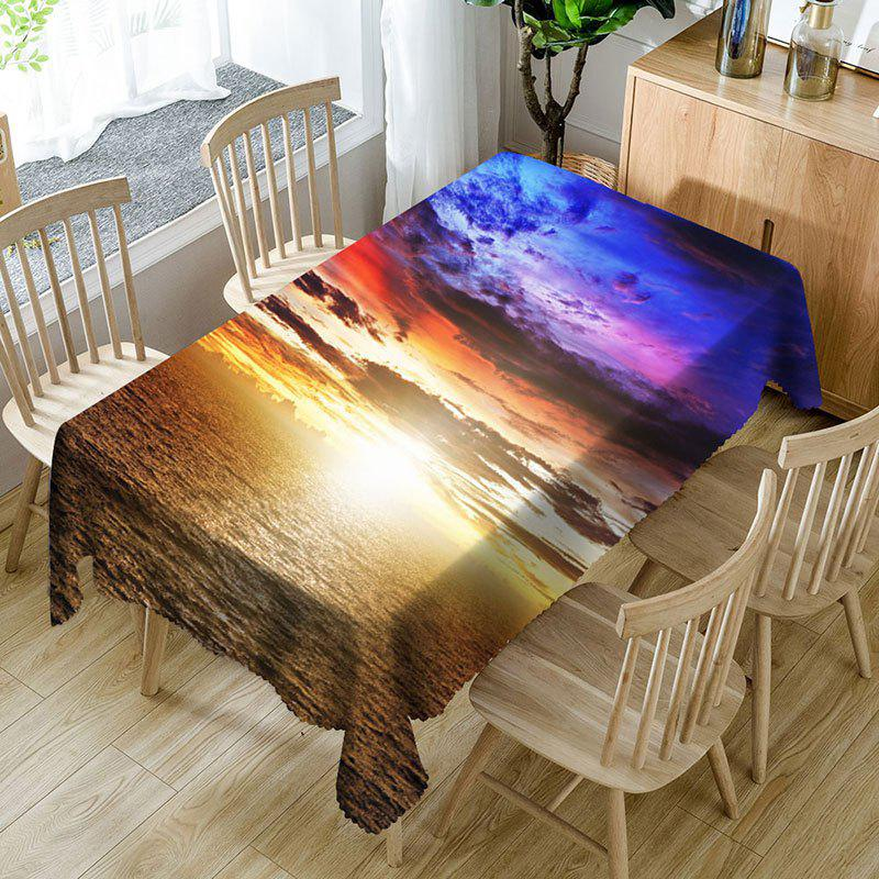 Outfits Seaside Sunset Pattern Microfiber Waterproof Table Cloth